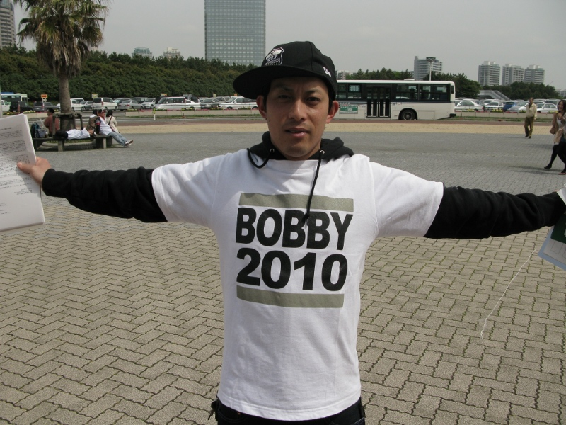 Bobby 2010 volunteer Aki rocks his campaign t-shirt