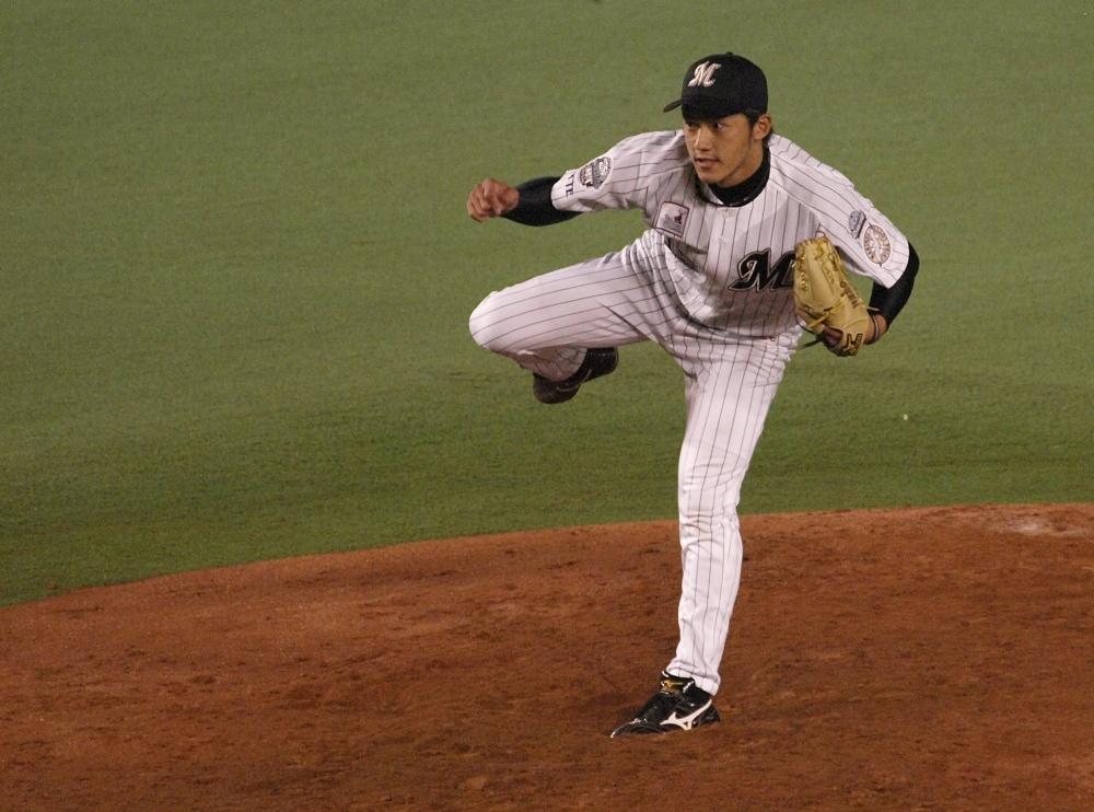 Ueno after throwing his first ichi-gun pitch