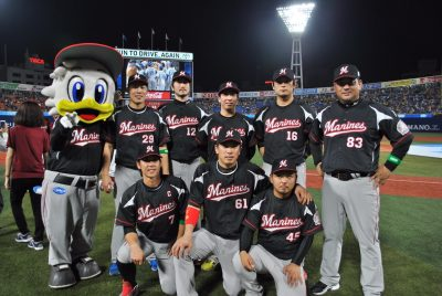 Our All Star Marines with Mar-kun and Itoh-kantoku, from marines.co.jp